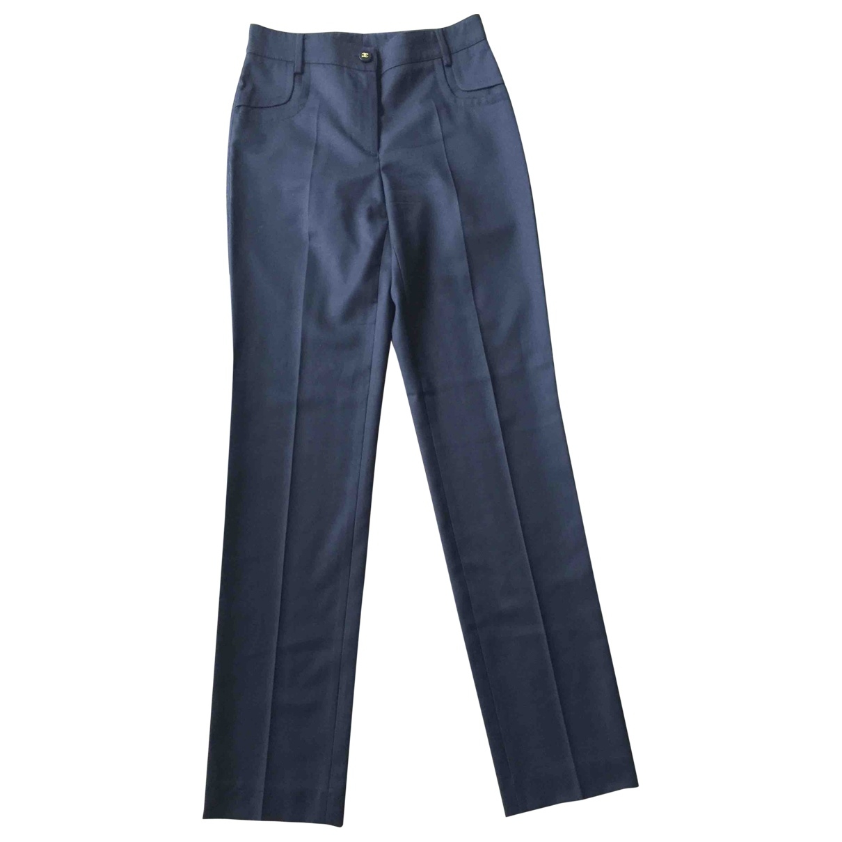 Chanel \N Navy Wool Trousers for Women 36 FR