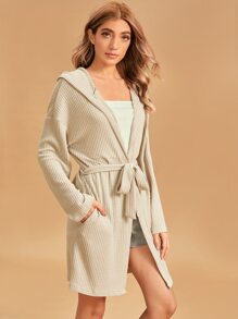 Solid Hooded Belted Robe