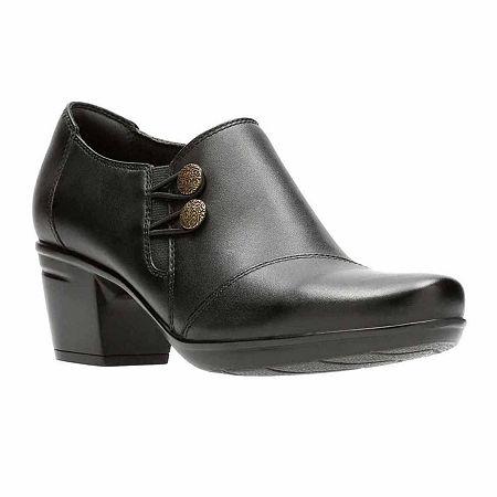 Clarks Emslie Warren Leather Womens Slip-On Shoes, 10 Medium, Black