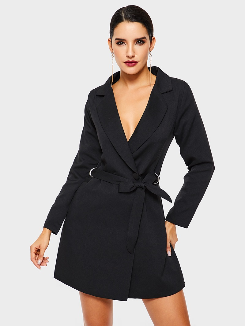 Ericdress Long Sleeve Plain Lace-Up Notched Lapel Office Lady Blazer