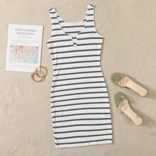 Notched Neckline Striped Rib-knit Night Dress