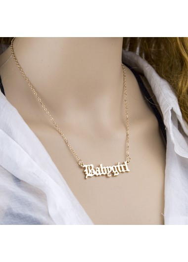 Mother's Day Gifts Gold Letter Design Metal Chain Necklace - One Size