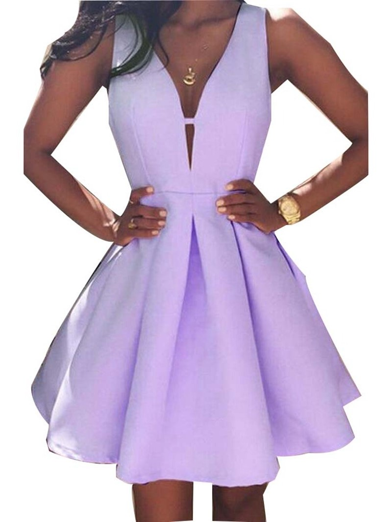 Ericdress A-Line Sleeveless V-Neck Pleated Plain Summer Dress