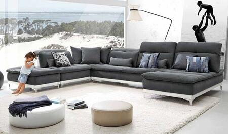 VGFTHORIZON Lusso Horizon Sectional Sofa with Adjustable Headrests  Pillows Included  Stainless Steel Legs  Made in Italy  Fabric and Leather