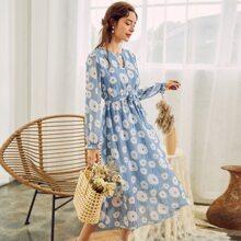 Chiffon Kleid mit Schluesselloch am Kragen, Guertel, Lanternenaermeln und Blumen Muster