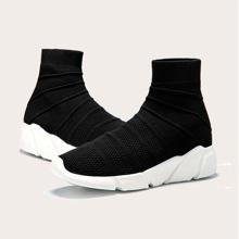 Maenner Minimalistische Strick Slip On Sneakers mit weiter Passform