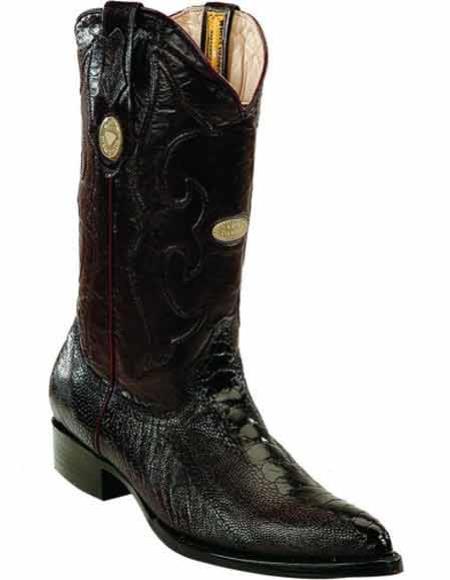 Men's Black Ostrich Leg Skin Full Leather Pull Straps JToe Style Boots