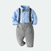 Toddler Boys Bow Tie Front Shirt & Suspender Houndstooth Pants