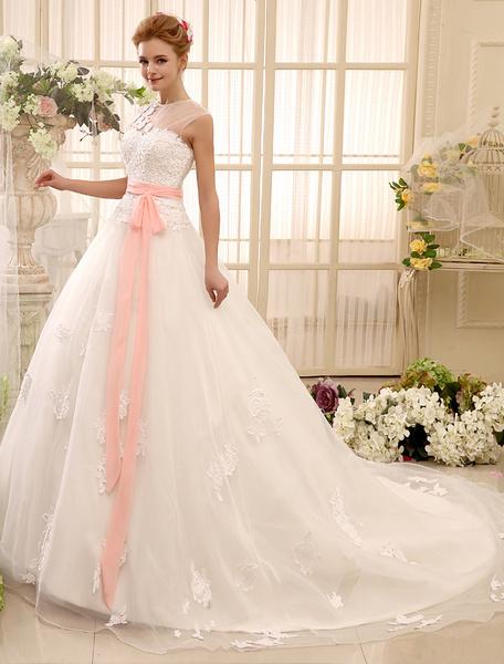 Milanoo A-line Chapel Train Ivory Applique Wedding Dress For Bride with Jewel Neck