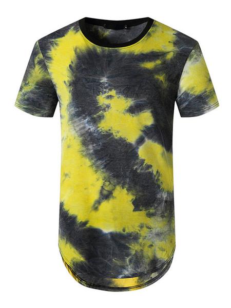 Milanoo T Shirts Jewel Neck Tie Dye Short Sleeves Tees