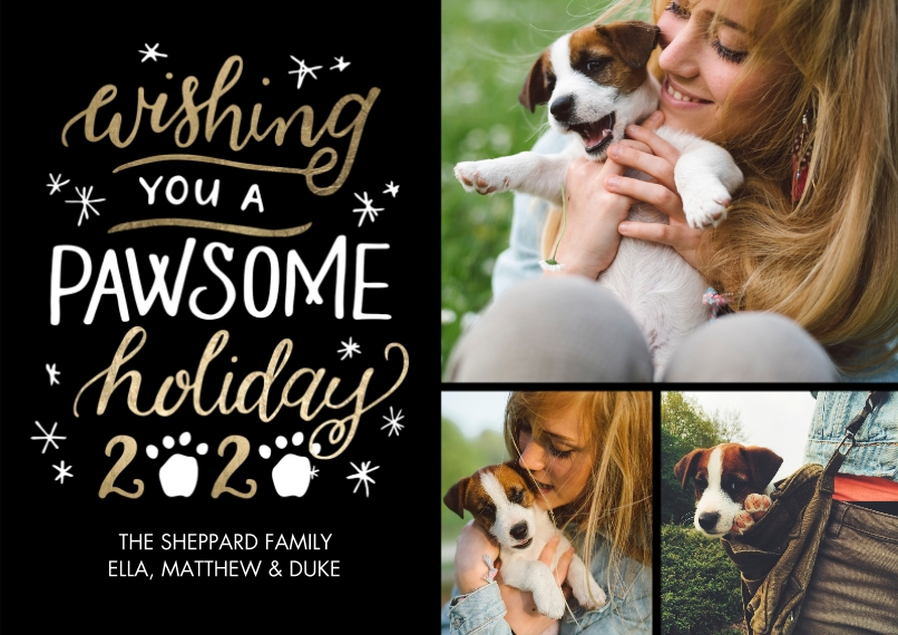 Christmas Photo Cards 5x7 Cards, Standard Cardstock 85lb, Card & Stationery -2020 Pawsome Holiday by Tumbalina