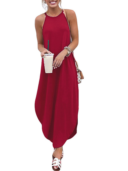 Yoins Red Vacation Style Loose Curved Hem Spaghetti Dress