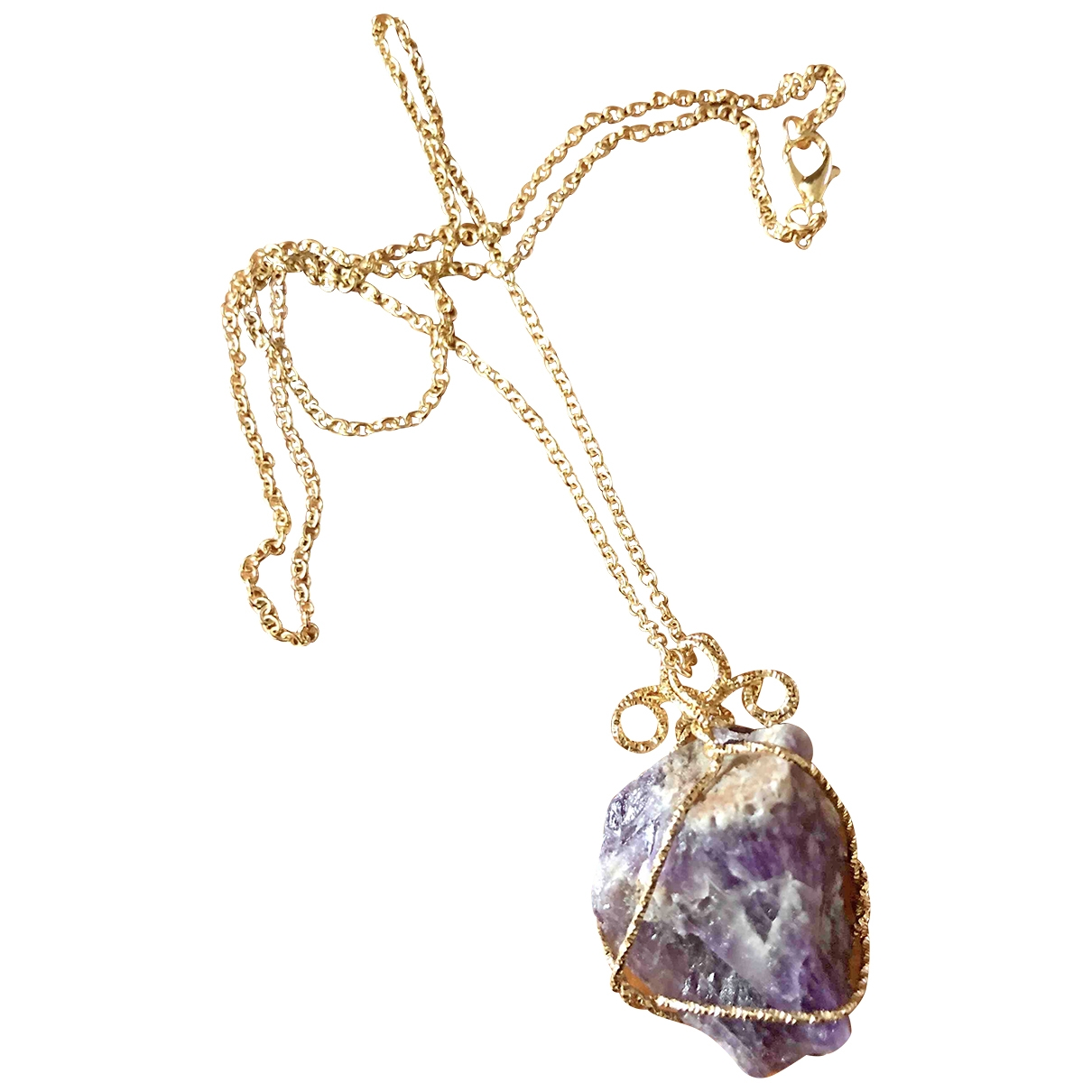 Non Signe / Unsigned Amethyste Kette in  Gold Metall