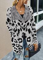 Leopard Pocket Lapel Knitted Cardigan