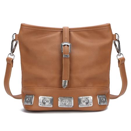 Yoins Carving Embellished Shoulder Bag in Brown