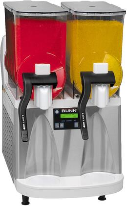 340000012 Frozen Beverage Dispenser with Reversing Auger Technology  2 Large 3-Gallon Hoppers  Manual Fill  Touchpad Display  Flat Lid  Extended