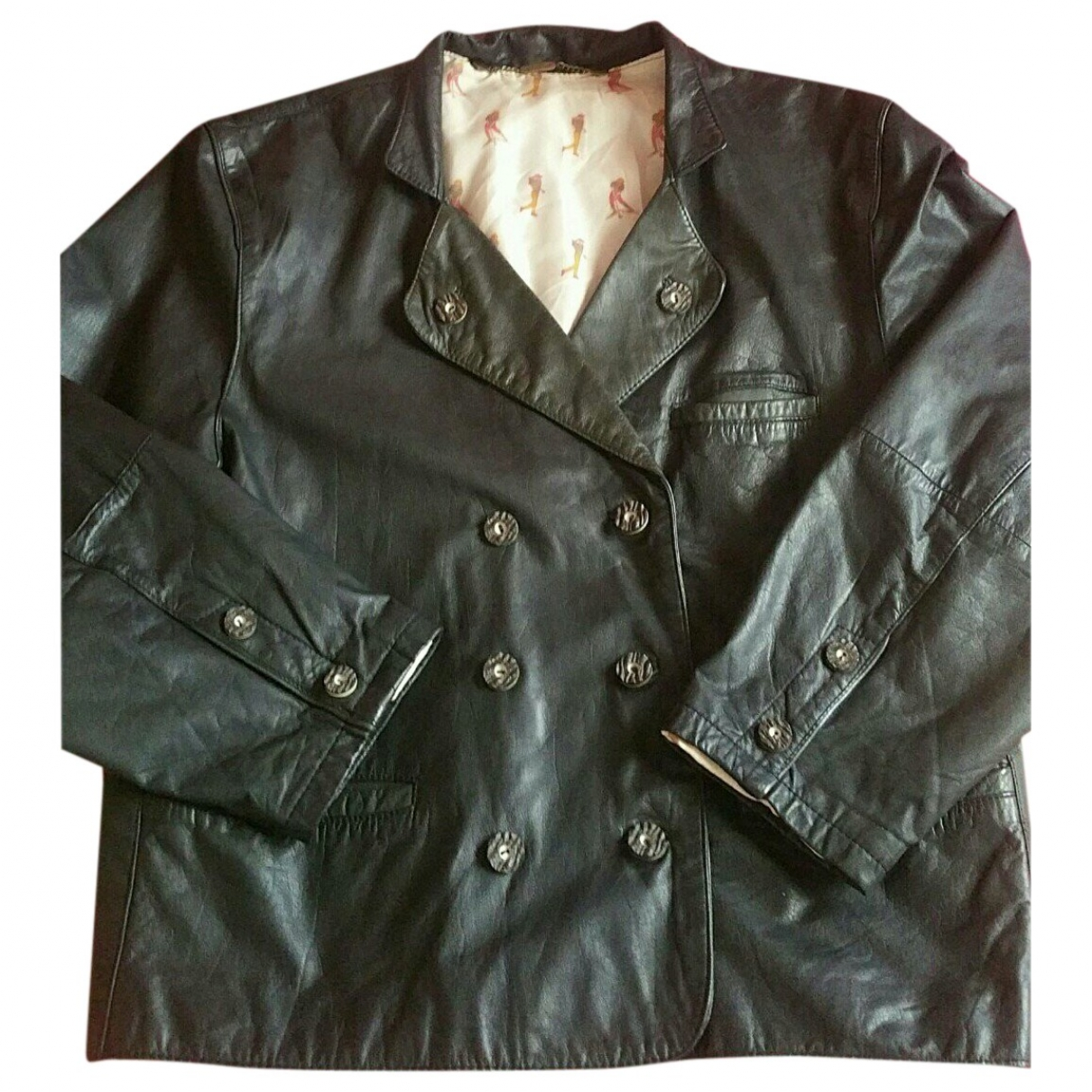 Non Signé / Unsigned \N Black Leather jacket for Women 44 IT