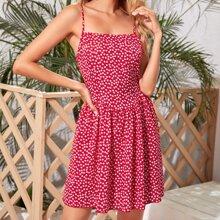 Cami Kleid mit Reissverschluss hinten und Bluemchen Muster