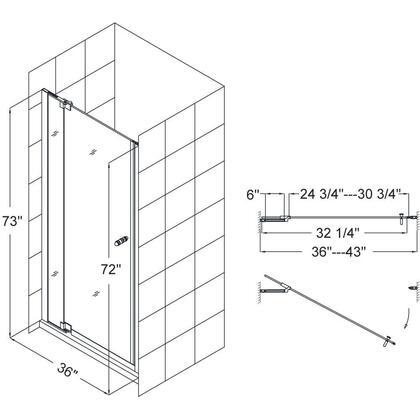 SHDR-4246728-01 Allure 46-47 In. W X 73 In. H Frameless Pivot Shower Door In