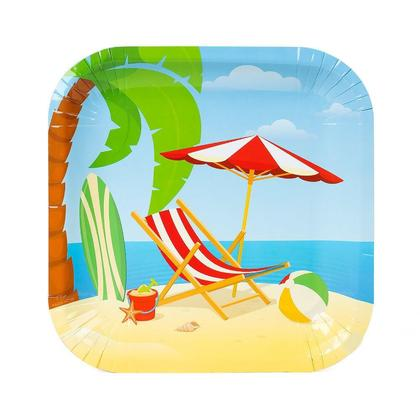 Beach Carré Papier Assiette 350g 9