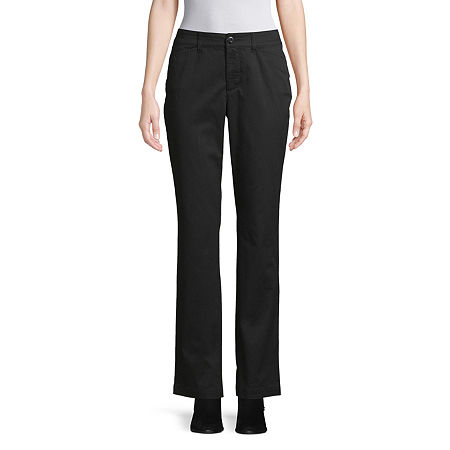St. John's Bay Womens Mid Rise Straight Flat Front Pant, 4 , Black