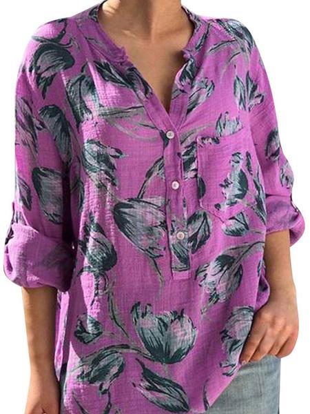 Milanoo Blusa para mujer Azul Mangas 3/4 Longitud con cuello en V Botones florales casuales Impreso Tops