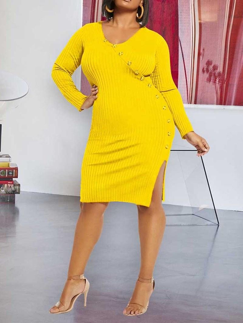 Ericdress Knee-Length Long Sleeve V-Neck High Waist Bodycon Dress