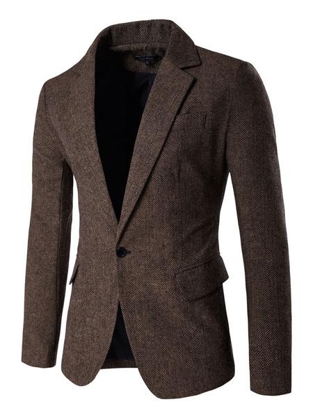 Milanoo Tweed chaqueta de hombre 2020 una botonadura casual blazer de invierno