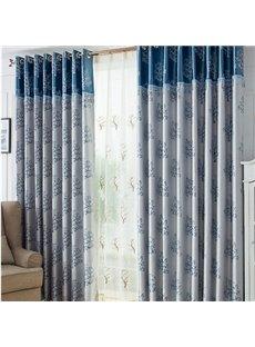 Stylish Blue Tree Pattern Duplex Jacquard Grommet Top Curtain