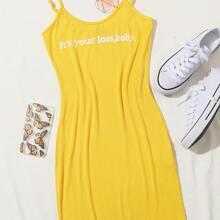 Figurbetontes Kleid mit Buchstaben Grafik