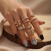 9pcs Rhinestone & Flower Decor Ring