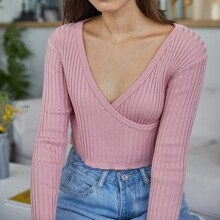 Surplice Crop Knit Sweater