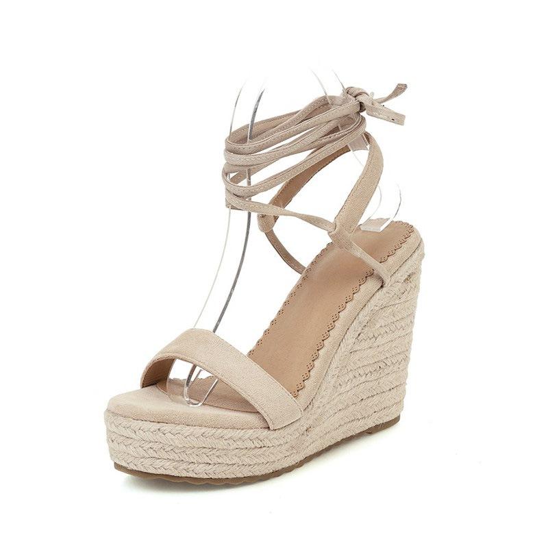 Ericdress Ankle Strap Open Toe Lace-Up Plain Sandals