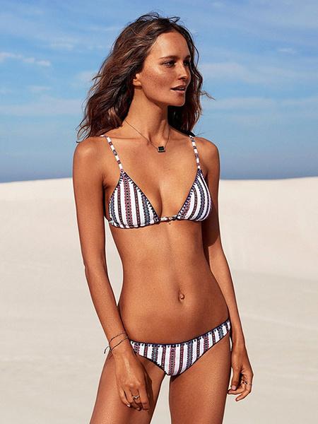 Milanoo Sexy Bikini Swimsuit White Straps Striped Two Piece Bathing Suit