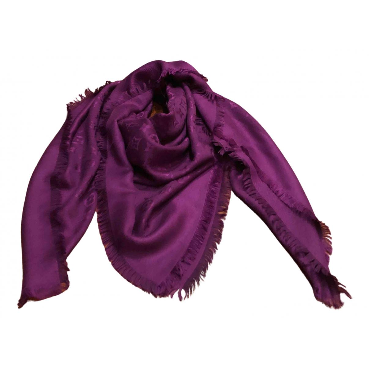 Louis Vuitton - Foulard Chale Monogram pour femme en soie - violet