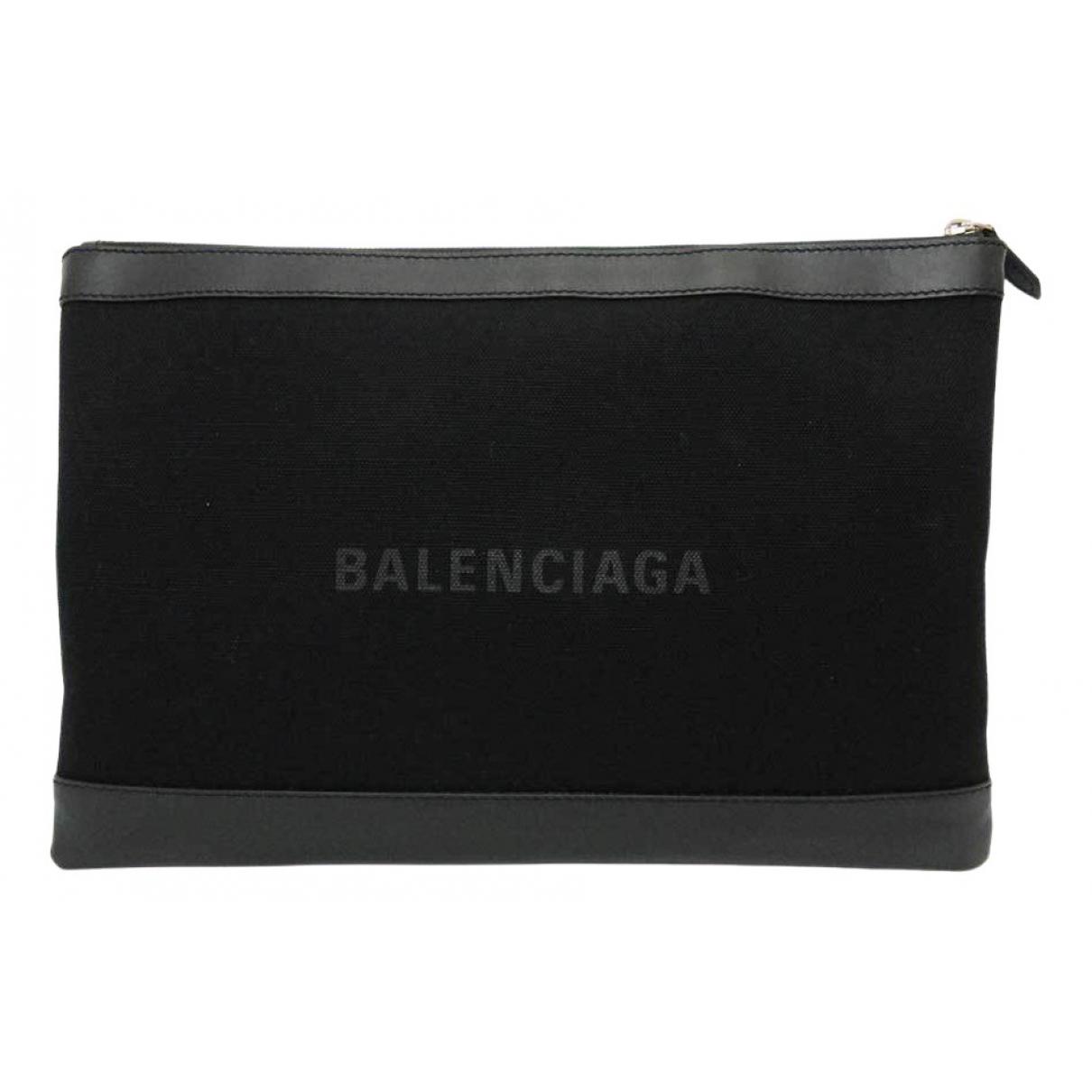 Balenciaga Navy cabas Black Cloth Clutch bag for Women \N