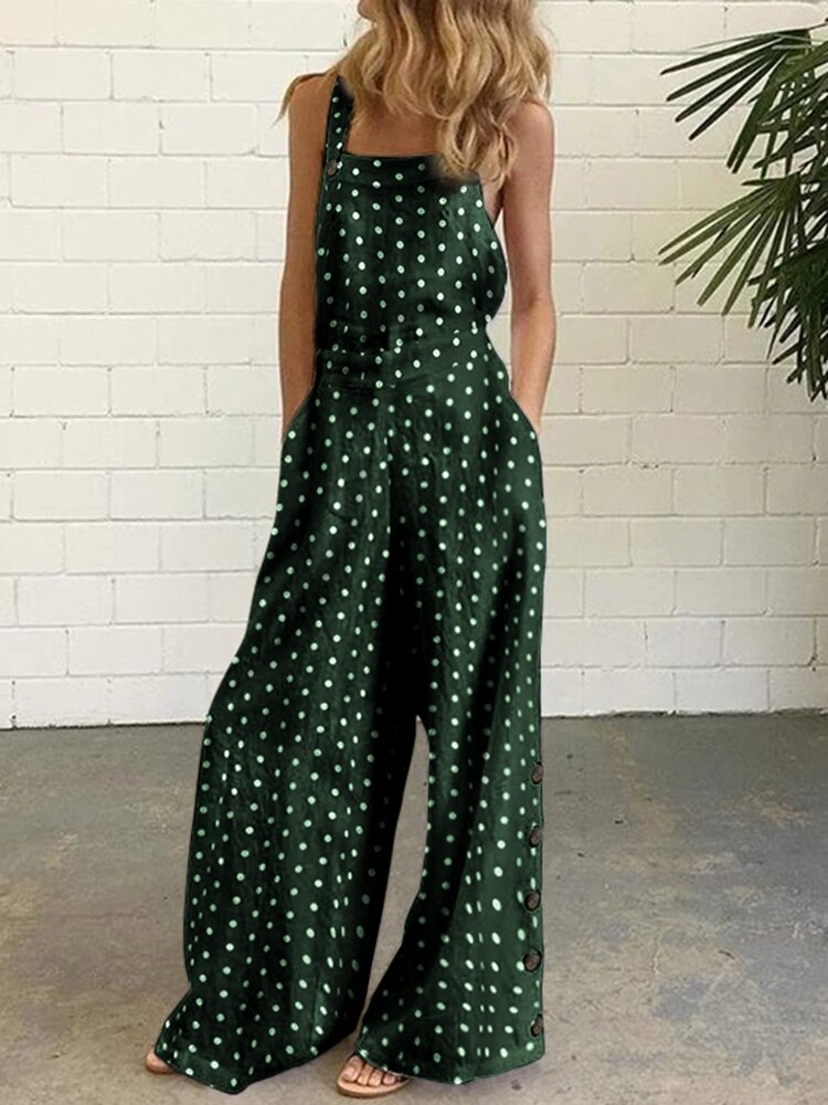 Straps Polkd Dot Print Side Button Casual Jumpsuit For Women