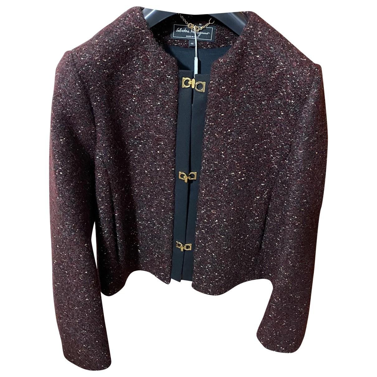 Salvatore Ferragamo \N Burgundy Tweed jacket for Women 46 IT