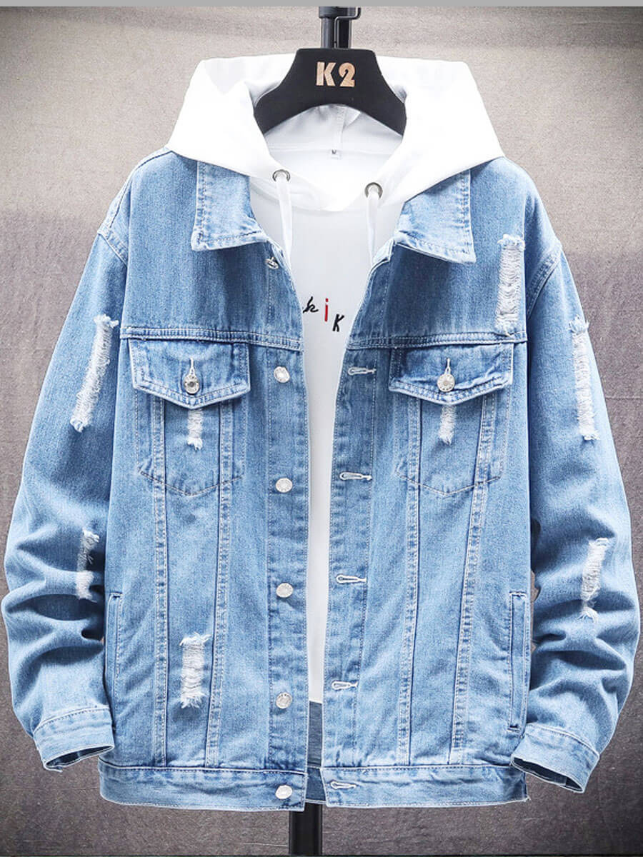 LW Lovely Casual Hooded Collar Patchwork Baby Blue Men Denim Coat