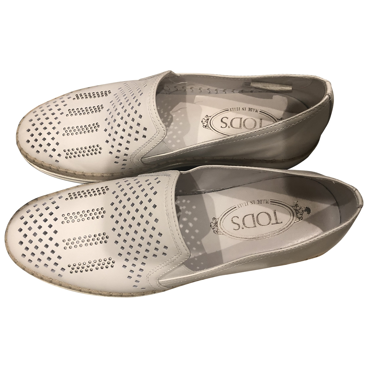 Tod's \N White Leather Flats for Women 39 EU