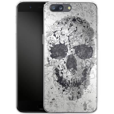 OnePlus 5 Silikon Handyhuelle - Doodle Skull von Ali Gulec