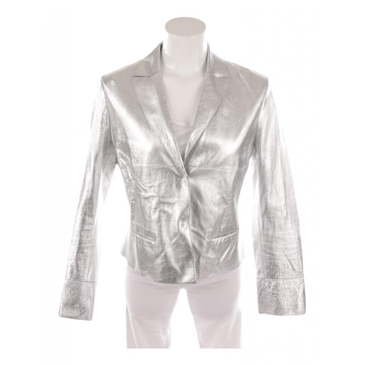 Marc Cain - Veste   pour femme en cuir - metallise