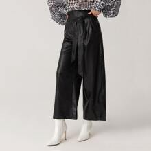 Paperbag Waist Belted PU Leather Wide Leg Pants