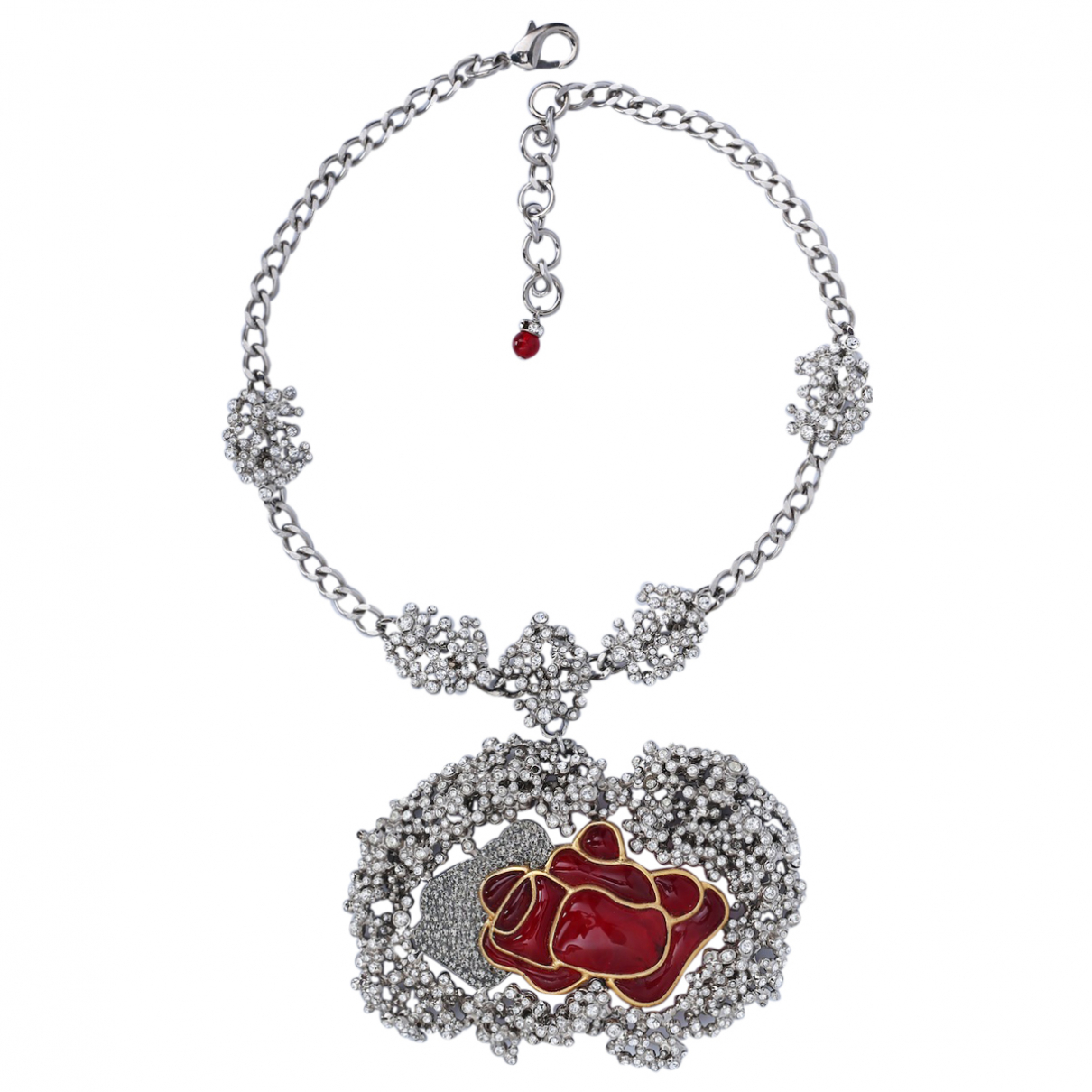 Non Signe / Unsigned Motifs Floraux Kette in  Rot Metall