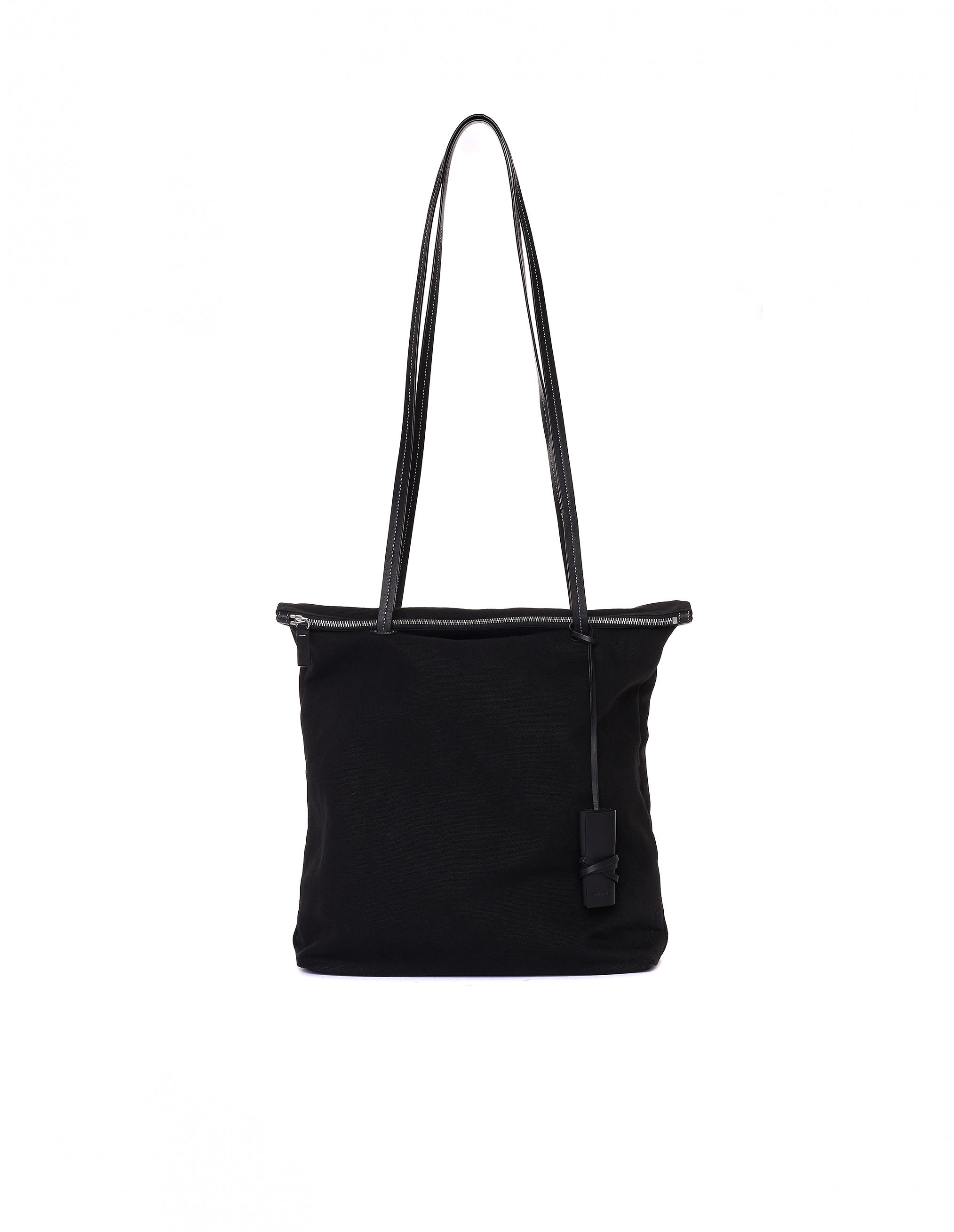 Jil Sander Black Cotton & Linen Shopper Bag