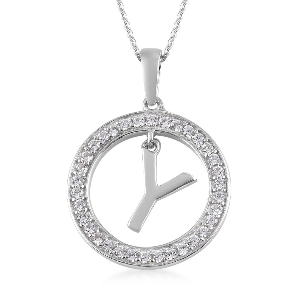 Platinum Over 925 Silver Zircon Pendant Necklace Size 20 In Ct 0.7 - Size 20'' (Zircon - Size 20'')