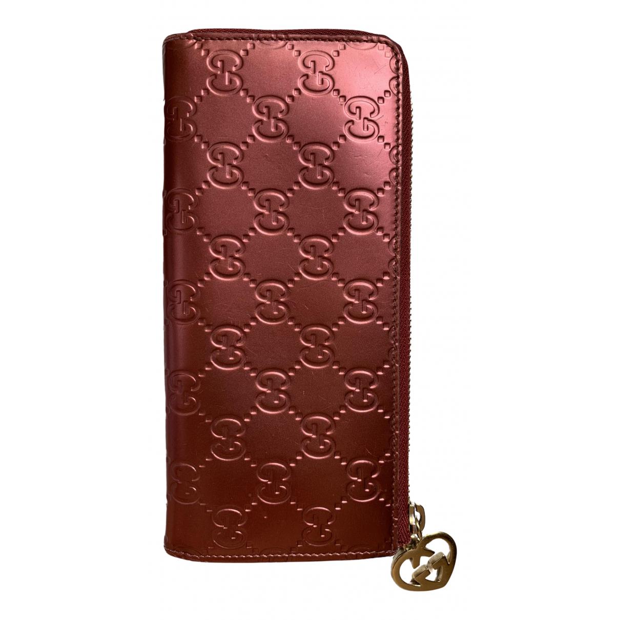 Gucci - Portefeuille Continental pour femme en cuir verni - bordeaux