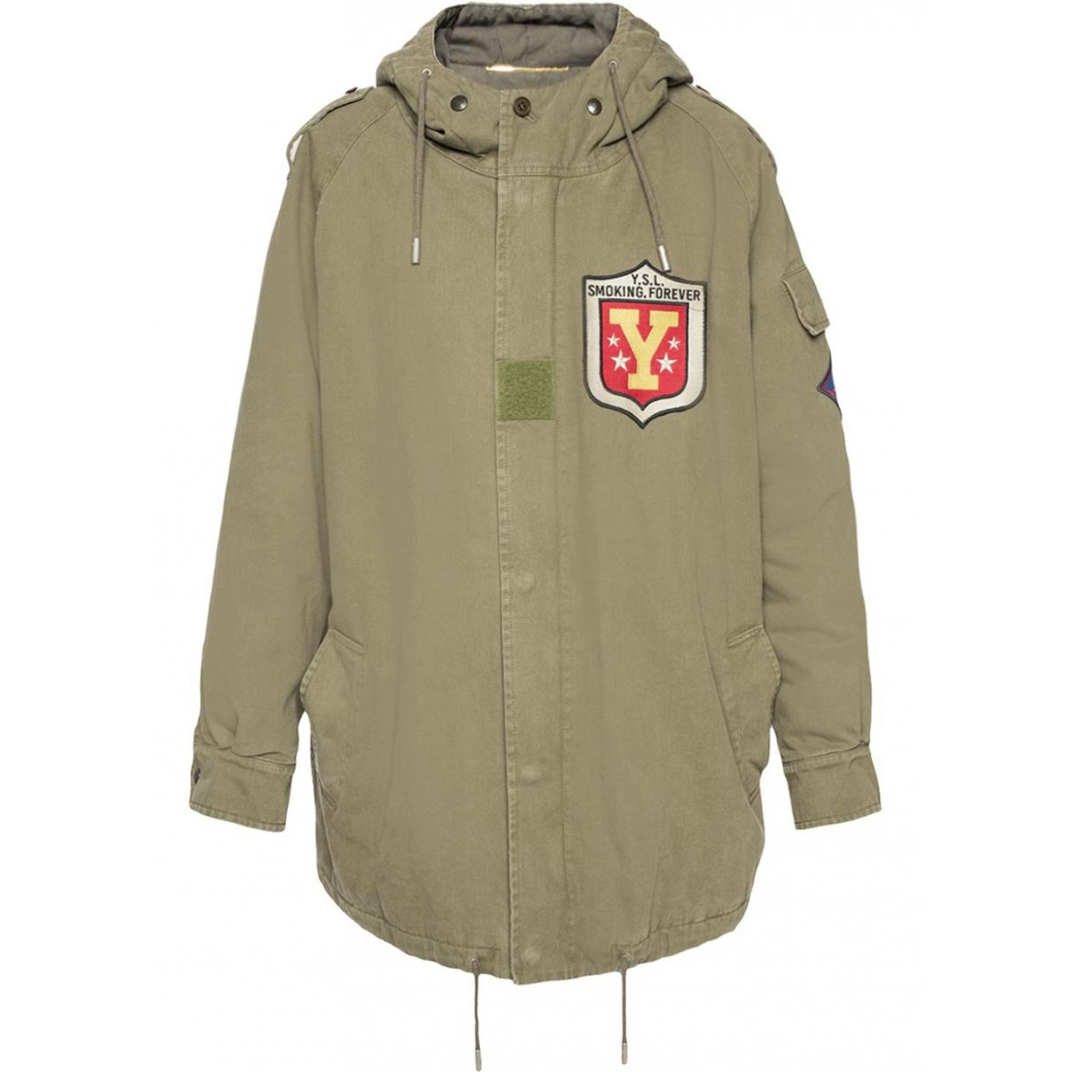 Saint Laurent \N Khaki Cotton coat for Women 38 FR