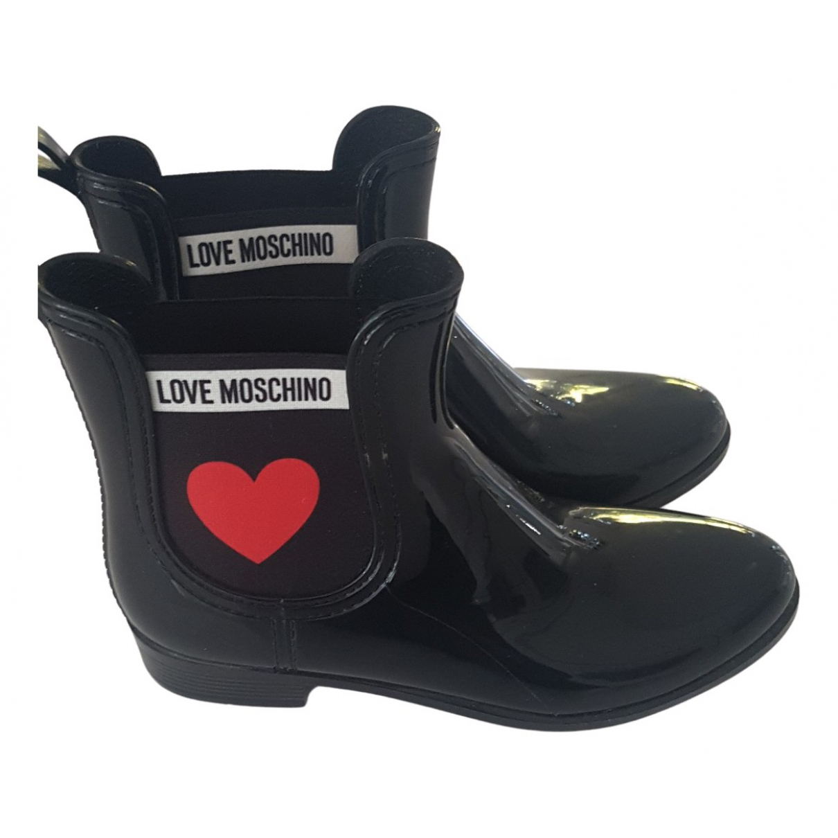 Moschino N Black Rubber Ankle boots for Women 39 EU