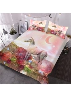 Unicorn and Beautiful Scenery Comforter 3D Animal Printed 3-Piece Comforter Sets wth 2 Pillowcases